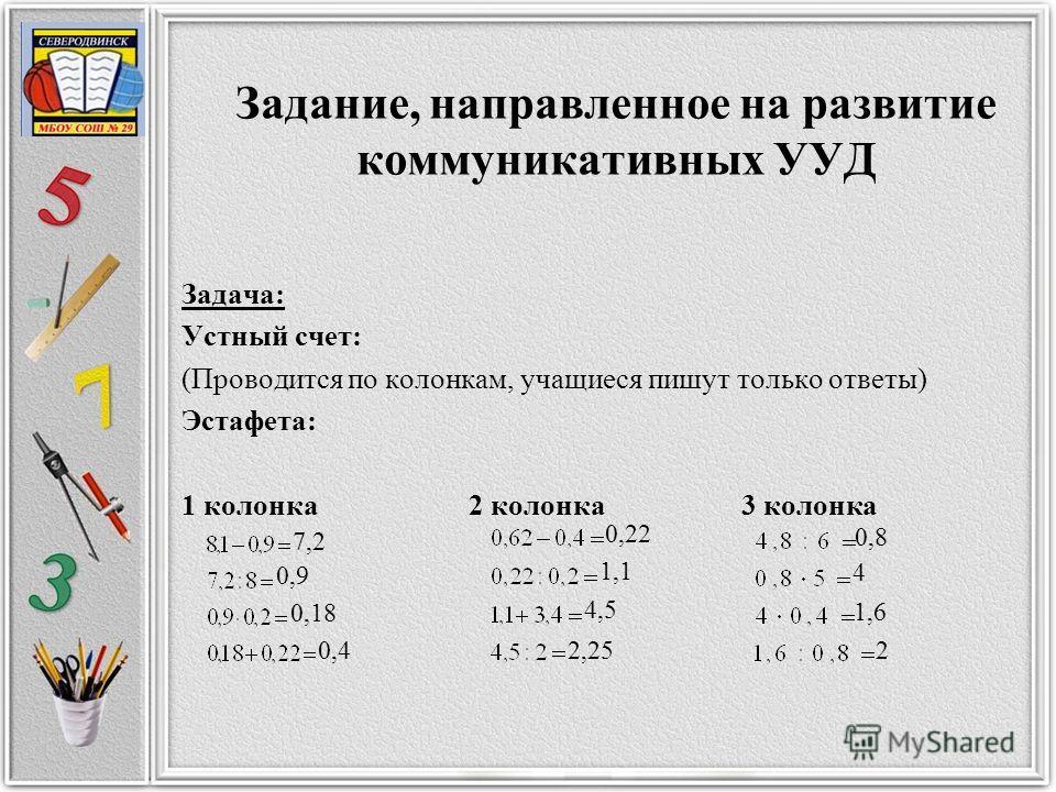 Задание, направленное на развитие коммуникативных УУД Задача: Устный счет: (Проводится по колонкам, учащиеся пишут только ответы) Эстафета: 1 колонка 2 колонка 3 колонка 7,2 0,9 0,18 0,4 0,22 1,1 4,5 2,25 0,8 4 1,6 2