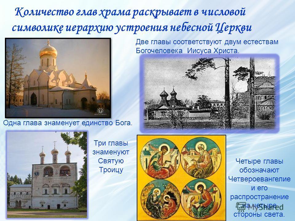 Количество глав храма раскрывает в числовой символике иерархию устроения небесной Церкви Три главы знаменуют Святую Троицу Одна глава знаменует единство Бога. Две главы соответствуют двум естествам Богочеловека Иисуса Христа. Четыре главы обозначают
