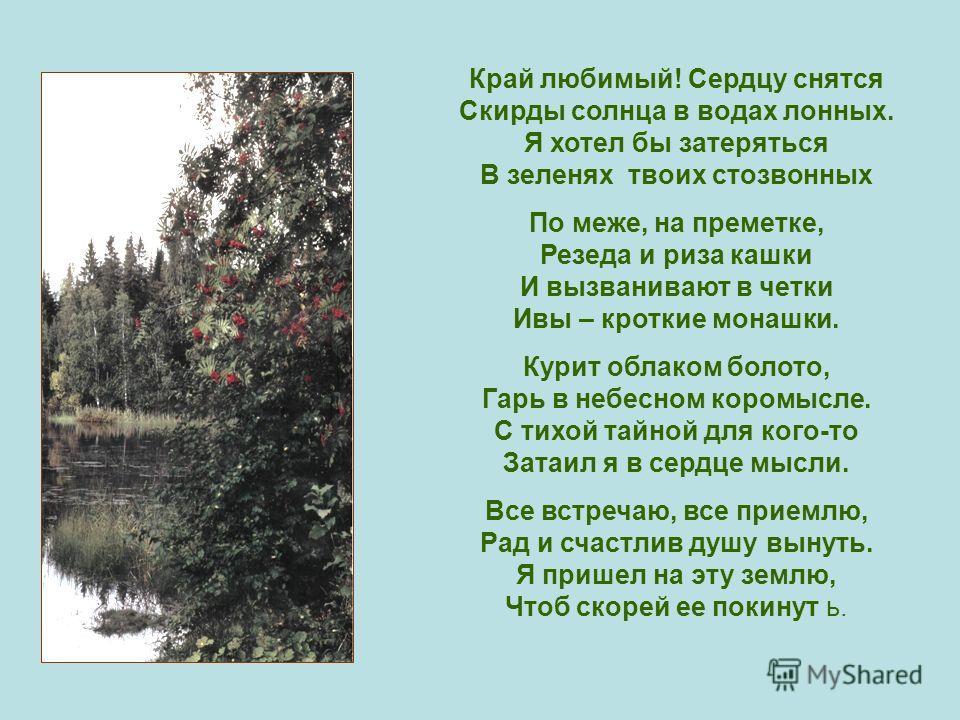 Край любимый! Сердцу снятся Скирды солнца в водах лонных. Я хотел бы затеряться В зеленях твоих стозвонных По меже, на преметке, Резеда и риза кашки И вызванивают в четки Ивы – кроткие монашки. Курит облаком болото, Гарь в небесном коромысле. С тихой