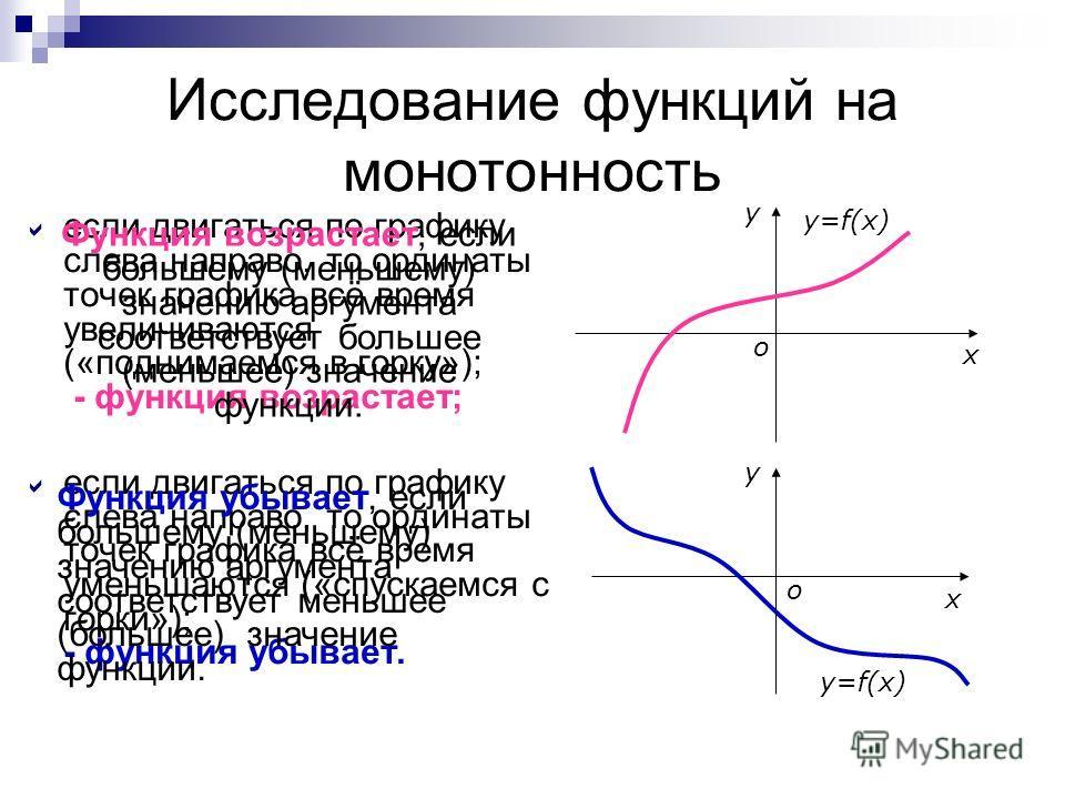 Исследование функций на монотонность если двигаться по графику слева направо, то ординаты точек графика всё время увеличиваются («поднимаемся в горку»); - функция возрастает; если двигаться по графику слева направо, то ординаты точек графика всё врем