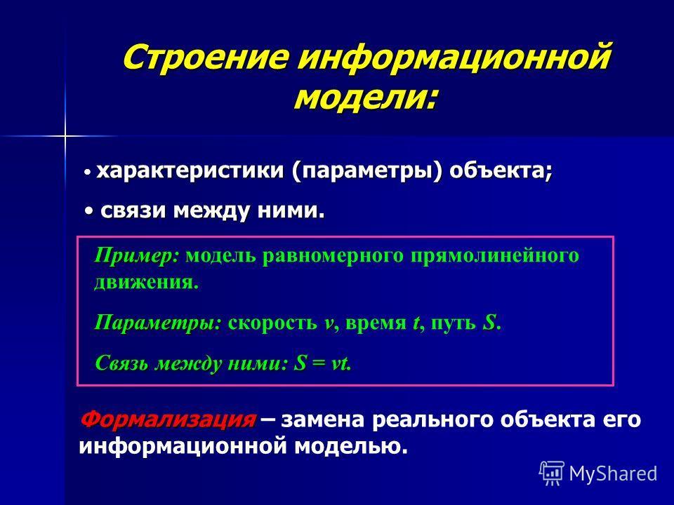 Строение информационной модели: характеристики (параметры) объекта; с связи между ними. Пример: модель равномерного прямолинейного движения. Параметры: скорость v vv v, время t tt t, путь S SS S. Связь между ними: S = vt. Формализация – замена реальн