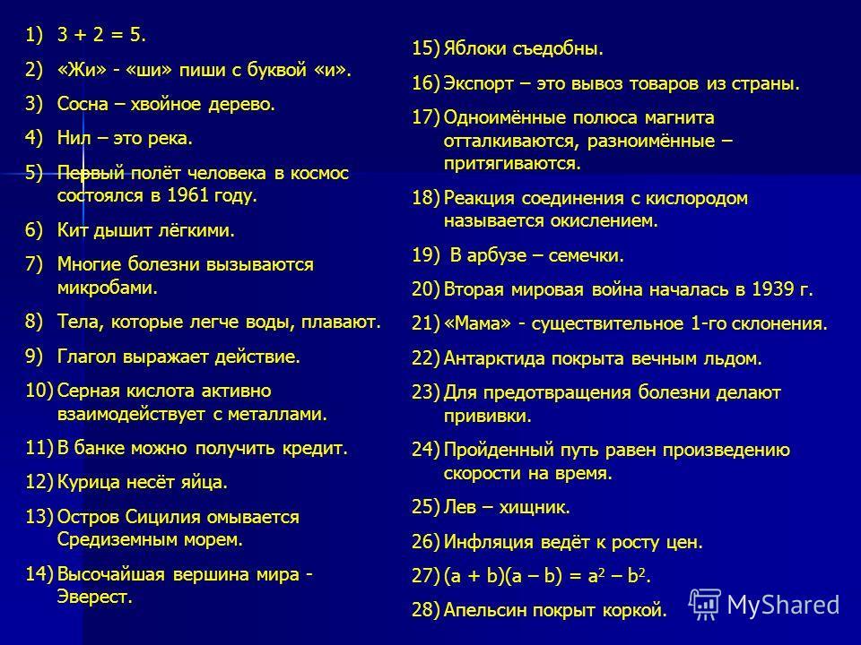 1)3 + 2 = 5. 2)«Жи» - «ши» пиши с буквой «и». 3)Сосна – хвойное дерево. 4)Нил – это река. 5)Первый полёт человека в космос состоялся в 1961 году. 6)Кит дышит лёгкими. 7)Многие болезни вызываются микробами. 8)Тела, которые легче воды, плавают. 9)Глаго