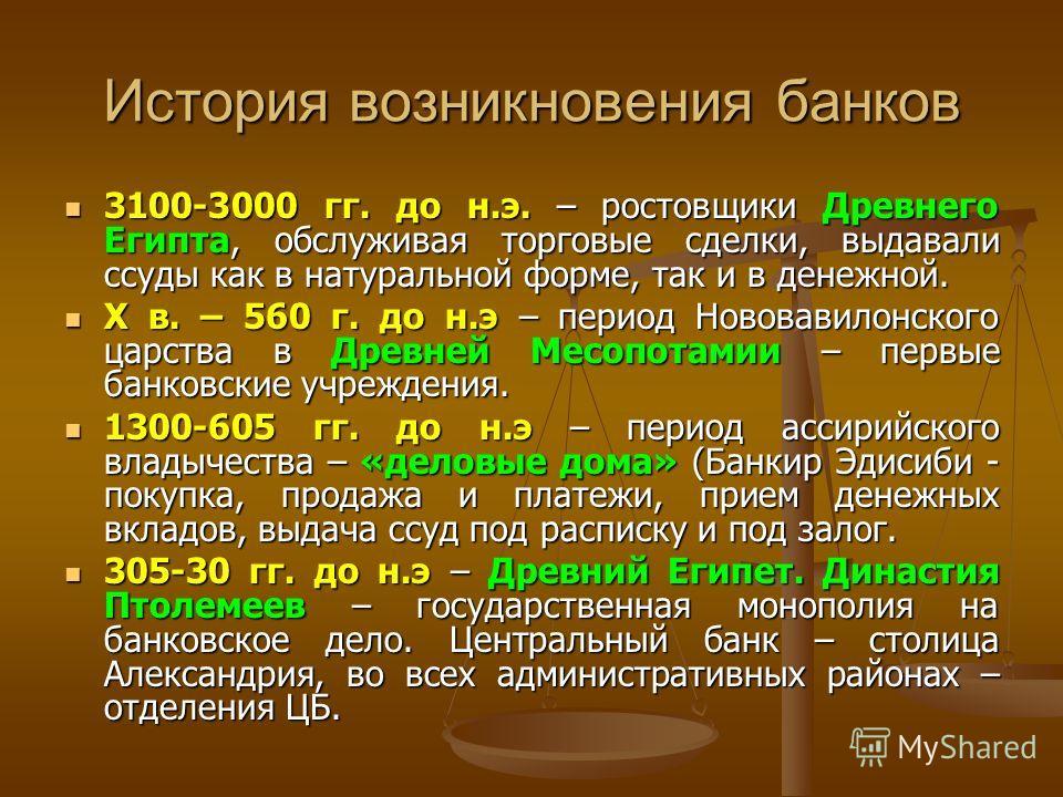 История возникновения банков 3100-3000 гг. до н.э. – ростовщики Древнего Египта, обслуживая торговые сделки, выдавали ссуды как в натуральной форме, так и в денежной. 3100-3000 гг. до н.э. – ростовщики Древнего Египта, обслуживая торговые сделки, выд