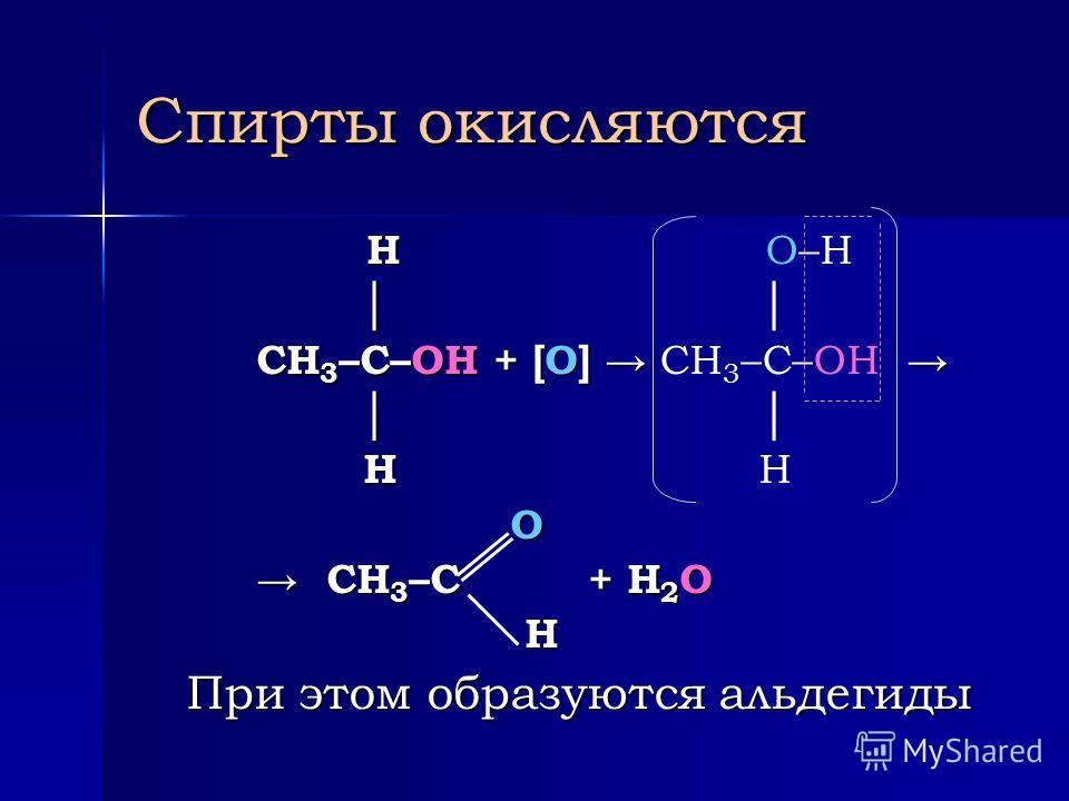 Химические свойства спиртов Взаимодействие спирта с активными металлами: 2СН 3 –СН 2 –ОН + 2Na 2СН 3 –СН 2 –ОН + 2Na 2CH 3 –CH 2 –O–Na + H 2 2CH 3 –CH 2 –O–Na + H 2