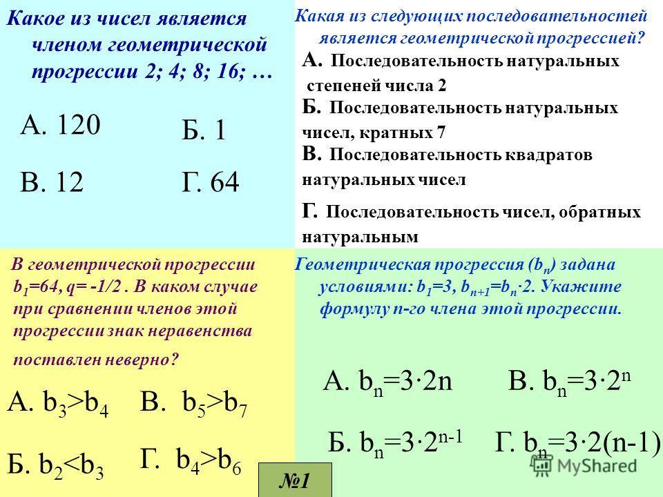 Какое из чисел является членом геометрической прогрессии 2; 4; 8; 16; … А. 120 Г. 64В. 12 Б. 1 Какая из следующих последовательностей является геометрической прогрессией? А. Последовательность натуральных степеней числа 2 Б. Последовательность натура
