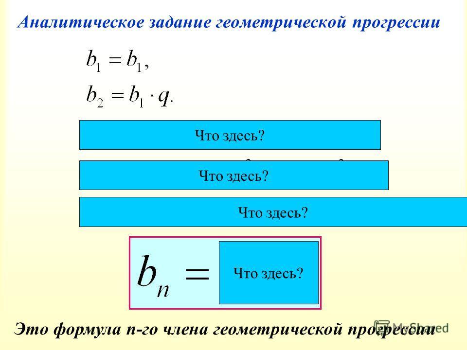 Аналитическое задание геометрической прогрессии Это формула n-го члена геометрической прогрессии Что здесь?