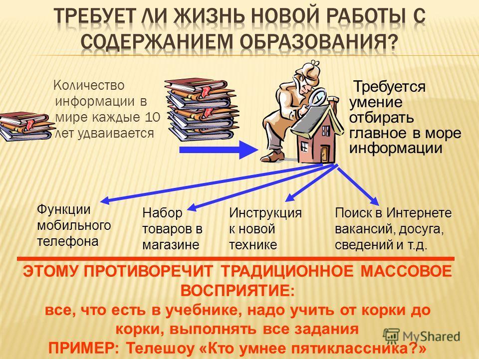 Количество информации в мире каждые 10 лет удваивается Требуется умение отбирать главное в море информации ЭТОМУ ПРОТИВОРЕЧИТ ТРАДИЦИОННОЕ МАССОВОЕ ВОСПРИЯТИЕ: все, что есть в учебнике, надо учить от корки до корки, выполнять все задания ПРИМЕР: Теле