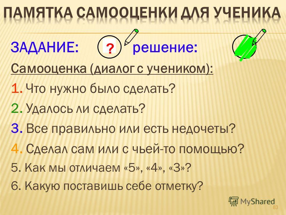 83 ЗАДАНИЕ: решение: Самооценка (диалог с учеником): 1. Что нужно было сделать? 2. Удалось ли сделать? 3. Все правильно или есть недочеты? 4. Сделал сам или с чьей-то помощью? 5. Как мы отличаем «5», «4», «3»? 6. Какую поставишь себе отметку? ?