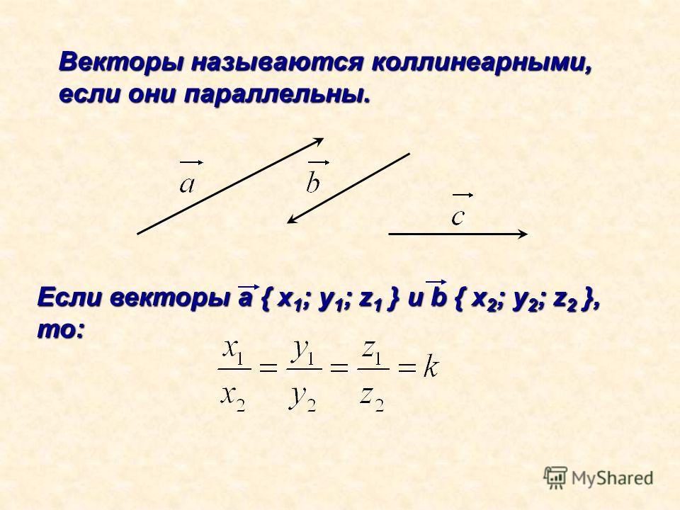 Векторы называются коллинеарными, если они параллельны. Если векторы а { x 1 ; y 1 ; z 1 } и b { x 2 ; y 2 ; z 2 }, то: