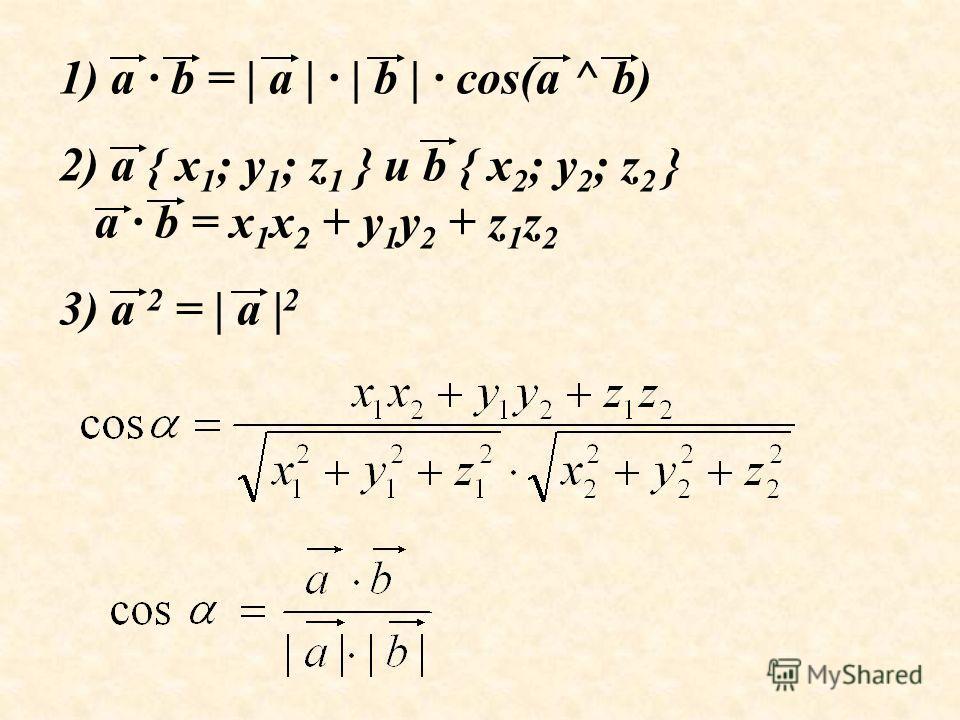 1) a · b = | a | · | b | · cos(a ^ b) 2) a { x 1 ; y 1 ; z 1 } и b { x 2 ; y 2 ; z 2 } a · b = x 1 x 2 + y 1 y 2 + z 1 z 2 3) a 2 = | a | 2