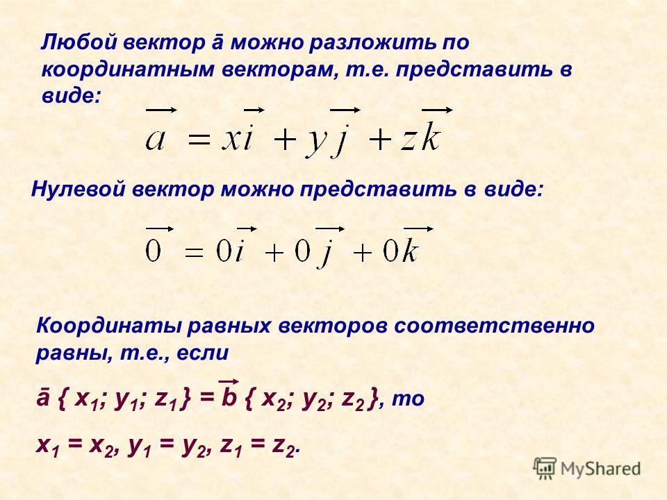 Любой вектор ā можно разложить по координатным векторам, т.е. представить в виде: Нулевой вектор можно представить в виде: Координаты равных векторов соответственно равны, т.е., если ā { x 1 ; y 1 ; z 1 } = b { x 2 ; y 2 ; z 2 }, то x 1 = x 2, y 1 =
