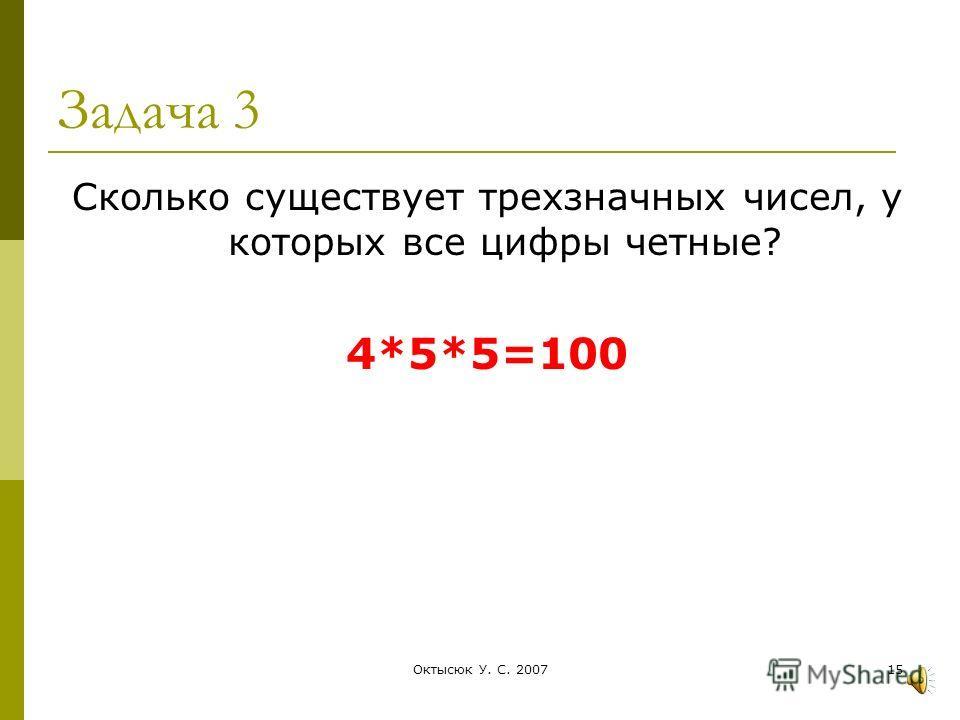 Октысюк У. С. 200714 Вывод Правило умножения! Если элемент А можно выбрать m способами, а элемент В можно выбрать n способами, то пару А и В можно выбрать m*n способами