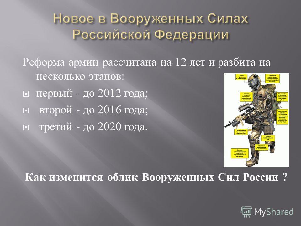 Реформа армии рассчитана на 12 лет и разбита на несколько этапов: первый - до 2012 года; второй - до 2016 года; третий - до 2020 года. Как изменится облик Вооруженных Сил России ?