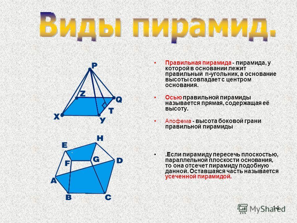 14 Правильная пирамида - пирамида, у которой в основании лежит правильный n-угольник, а основание высоты совпадает с центром основания. Осью правильной пирамиды называется прямая, содержащая её высоту. Апофема - высота боковой грани правильной пирами