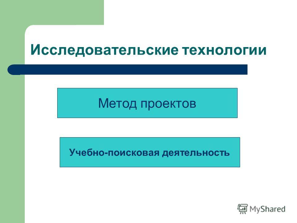 Исследовательские технологии Метод проектов Учебно-поисковая деятельность