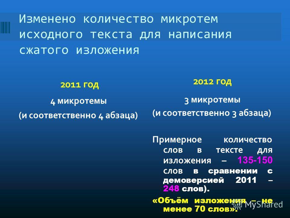 Изменено количество микротем исходного текста для написания сжатого изложения 2011 год 2012 год 4 микротемы (и соответственно 4 абзаца) 3 микротемы (и соответственно 3 абзаца) Примерное количество слов в тексте для изложения – 135-150 слов в сравнени