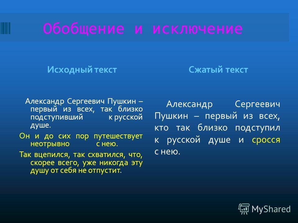 Обобщение и исключение Исходный текстСжатый текст Александр Сергеевич Пушкин – первый из всех, так близко подступивший к русской душе. Он и до сих пор путешествует неотрывно с нею. Так вцепился, так схватился, что, скорее всего, уже никогда эту душу
