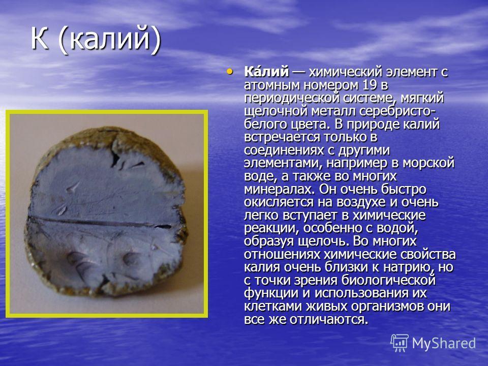 К (калий) Ка́лий химический элемент с атомным номером 19 в периодической системе, мягкий щелочной металл серебристо- белого цвета. В природе калий встречается только в соединениях с другими элементами, например в морской воде, а также во многих минер