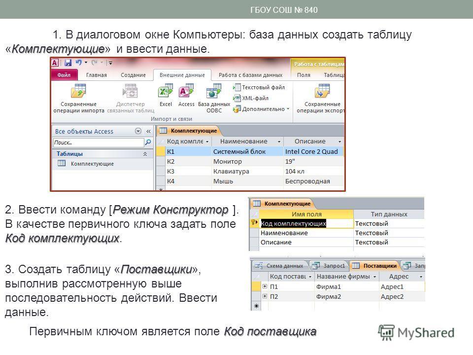 Комплектующие 1. В диалоговом окне Компьютеры: база данных создать таблицу «Комплектующие» и ввести данные. Режим Конструктор 2. Ввести команду [Режим Конструктор ]. Код комплектующих В качестве первичного ключа задать поле Код комплектующих. Поставщ