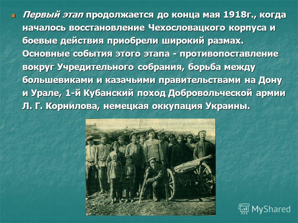 Первый этап продолжается до конца мая 1918г., когда началось восстановление Чехословацкого корпуса и боевые действия приобрели широкий размах. Основные события этого этапа - противопоставление вокруг Учредительного собрания, борьба между большевиками