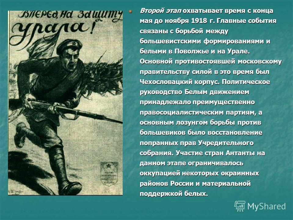 Второй этап охватывает время с конца мая до ноября 1918 г. Главные события связаны с борьбой между большевистскими формированиями и белыми в Поволжье и на Урале. Основной противостоявшей московскому правительству силой в это время был Чехословацкий к