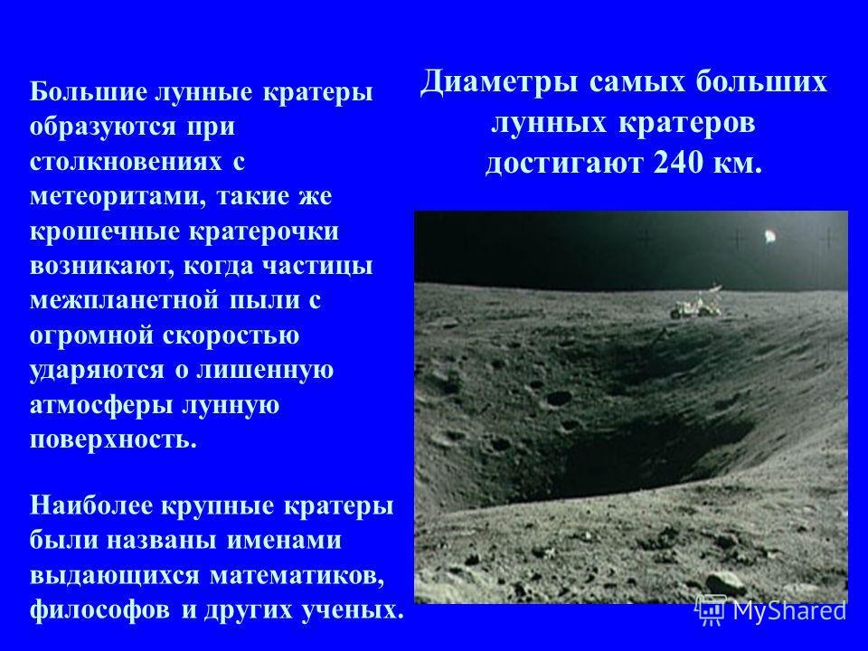 Большие лунные кратеры образуются при столкновениях с метеоритами, такие же крошечные кратерочки возникают, когда частицы межпланетной пыли с огромной скоростью ударяются о лишенную атмосферы лунную поверхность. Наиболее крупные кратеры были названы