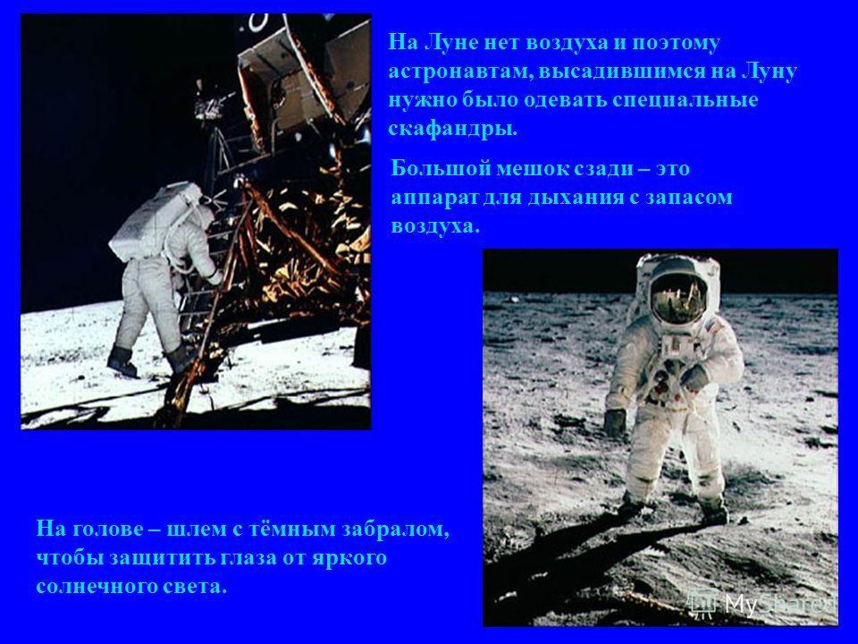 На Луне нет воздуха и поэтому астронавтам, высадившимся на Луну нужно было одевать специальные скафандры. Большой мешок сзади – это аппарат для дыхания с запасом воздуха. На голове – шлем с тёмным забралом, чтобы защитить глаза от яркого солнечного с
