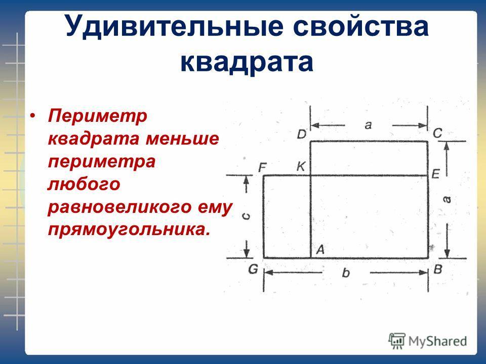 Удивительные свойства квадрата Периметр квадрата меньше периметра любого равновеликого ему прямоугольника.