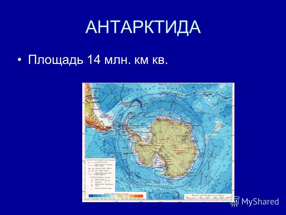 АНТАРКТИДА Площадь 14 млн. км кв.