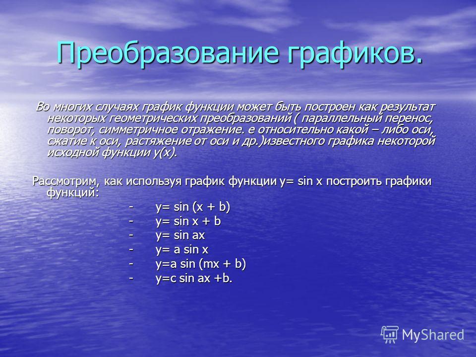 Преобразование графиков. Преобразование графиков. Во многих случаях график функции может быть построен как результат некоторых геометрических преобразований ( параллельный перенос, поворот, симметричное отражение. е относительно какой – либо оси, сжа
