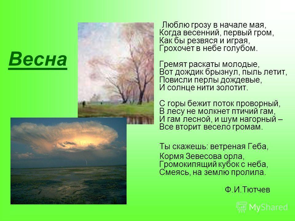 Весна Люблю грозу в начале мая, Когда весенний, первый гром, Как бы резвяся и играя, Грохочет в небе голубом. Гремят раскаты молодые, Вот дождик брызнул, пыль летит, Повисли перлы дождевые, И солнце нити золотит. С горы бежит поток проворный, В лесу