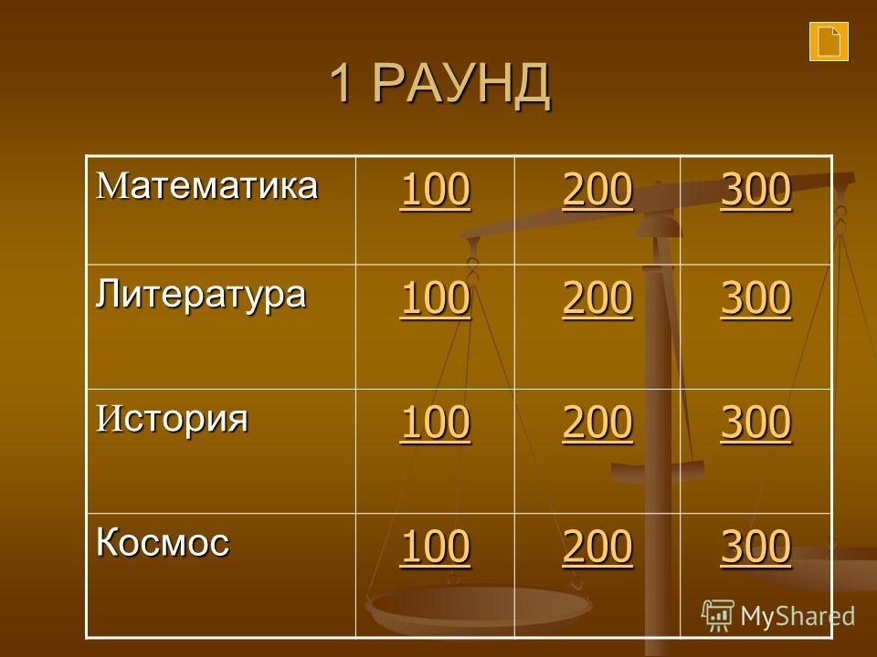 1 РАУНД М атематика 100 200 300 Литература 100 200 300 И стория 100 200 300 Космос 100 200 300