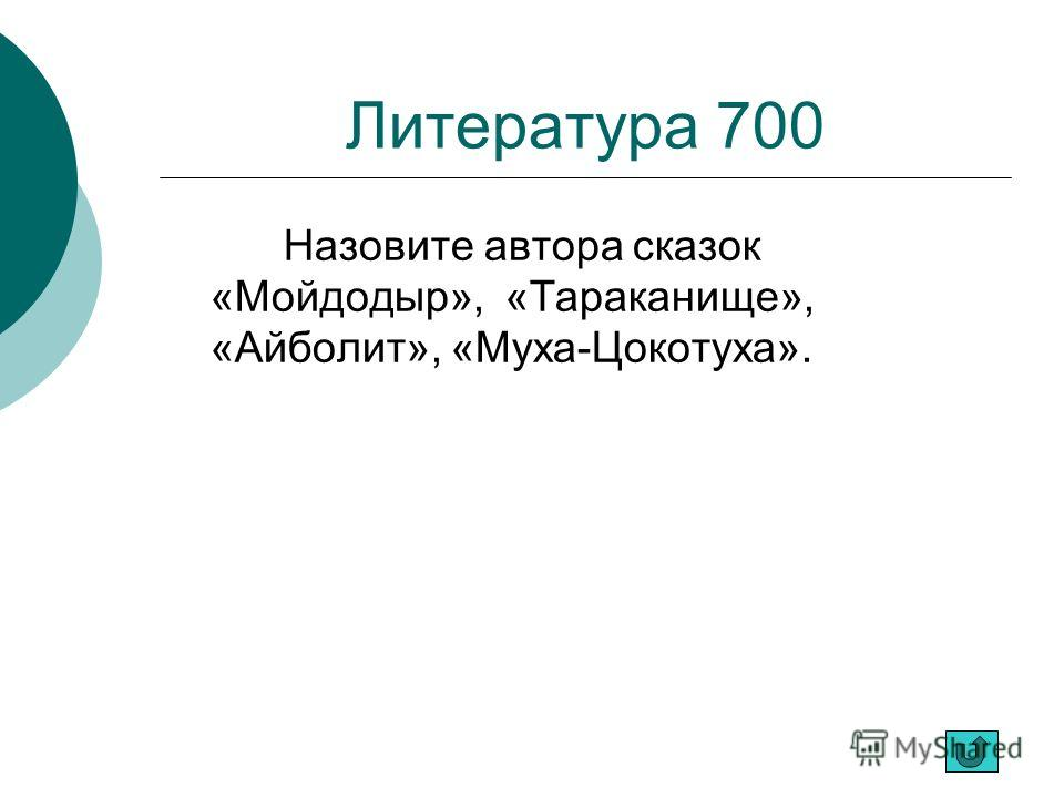 Литература 700 Назовите автора сказок «Мойдодыр», «Тараканище», «Айболит», «Муха-Цокотуха».