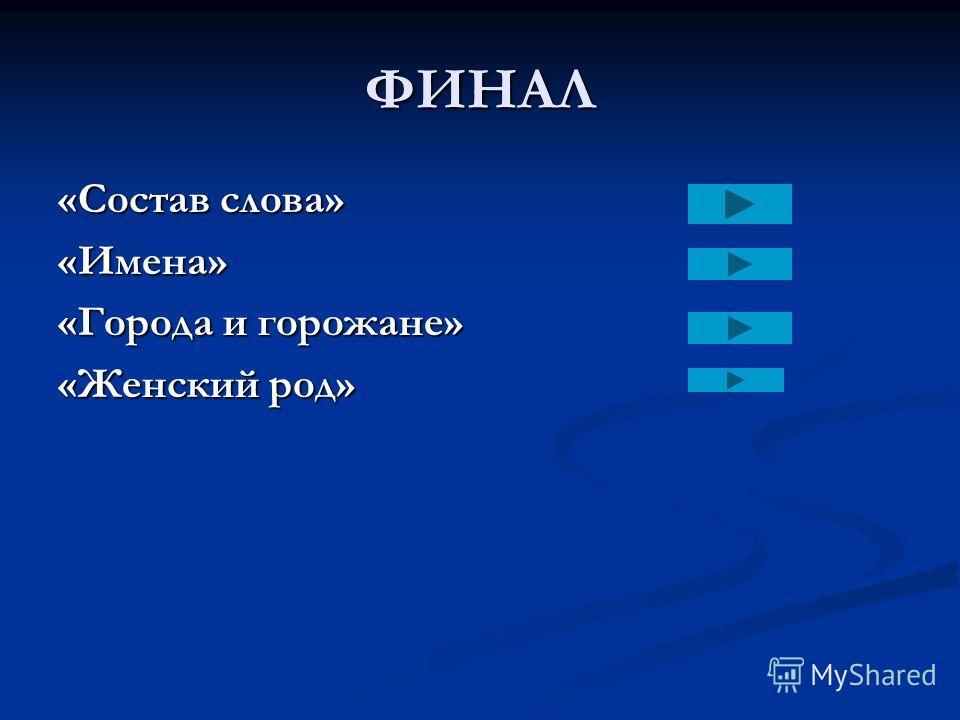 ФИНАЛ «Состав слова» «Имена» «Города и горожане» «Женский род»
