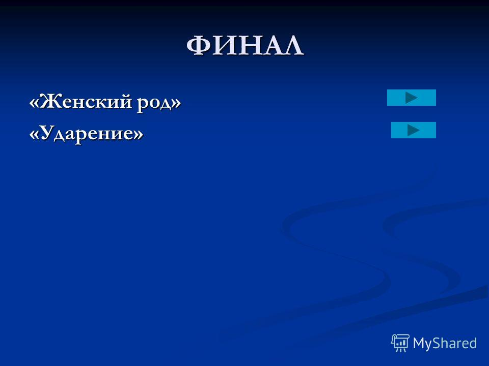 ФИНАЛ «Ударение»