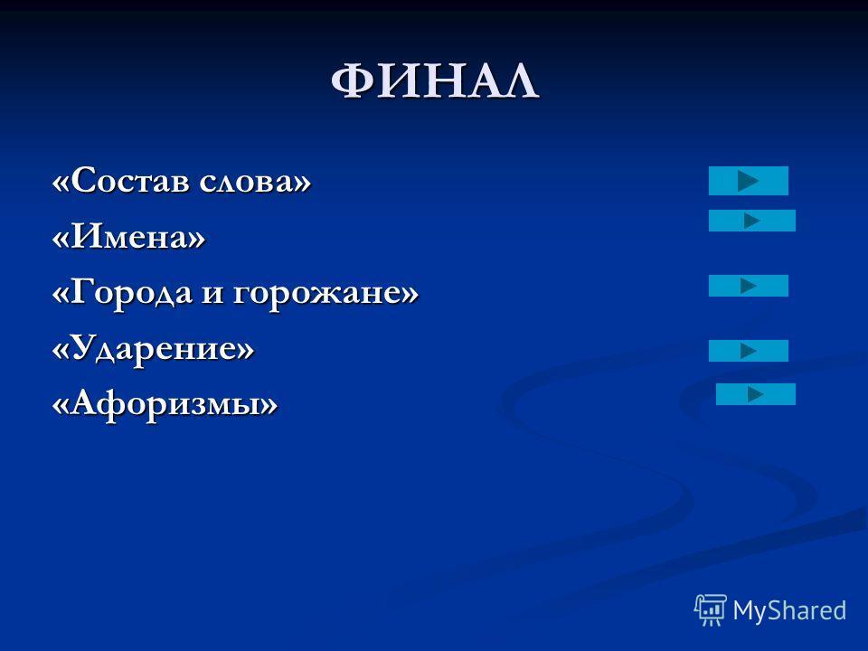 ФИНАЛ «Состав слова» «Имена» «Города и горожане» «Ударение»«Афоризмы»