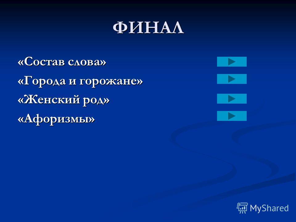 ФИНАЛ «Состав слова» «Города и горожане» «Женский род» «Афоризмы»