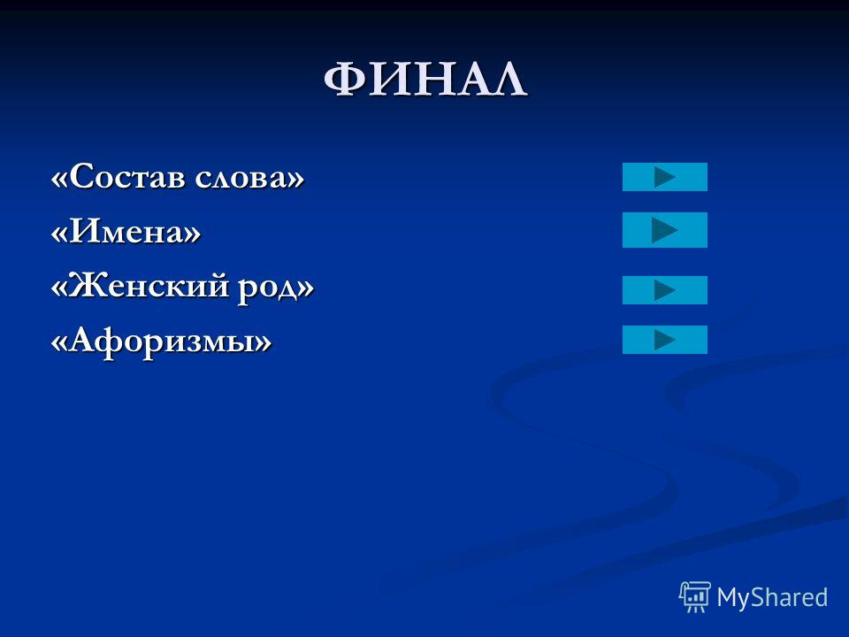 ФИНАЛ «Состав слова» «Имена» «Женский род» «Афоризмы»
