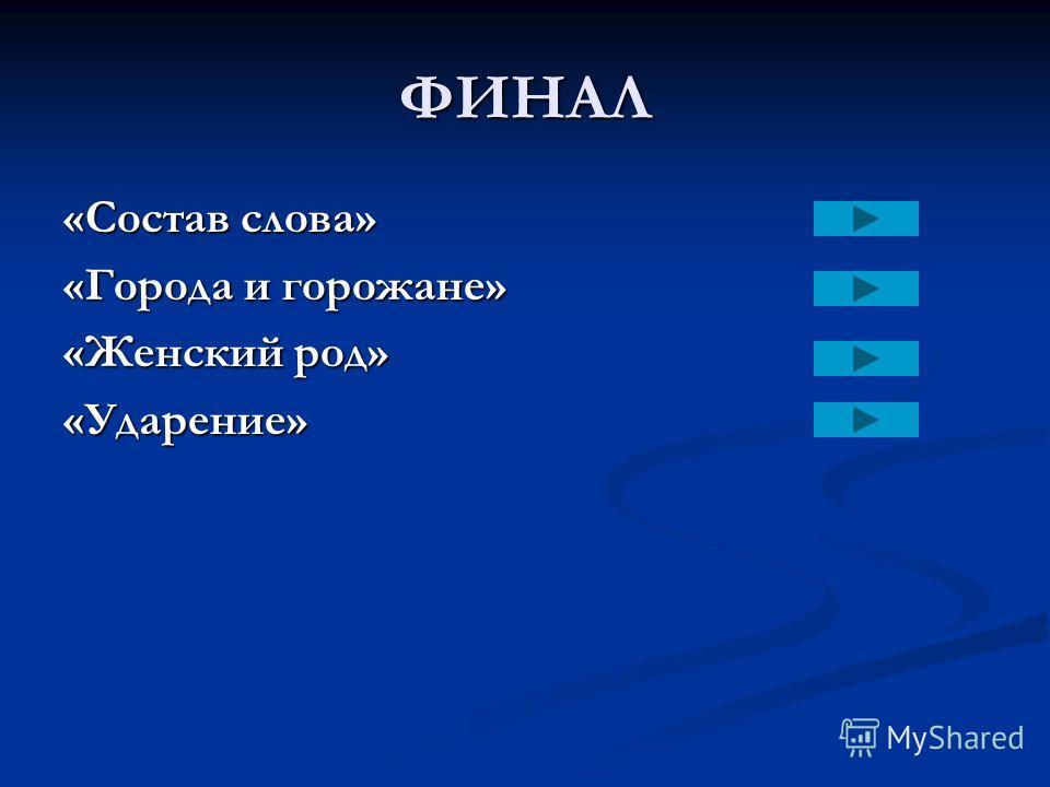 ФИНАЛ «Состав слова» «Города и горожане» «Женский род» «Ударение»