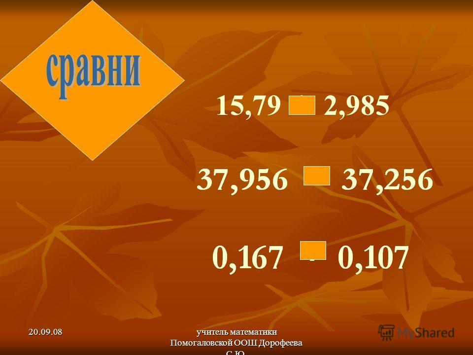 20.09.08учитель математики Помогаловской ООШ Дорофеева С.Ю. 15,79 * 2,985 > < >
