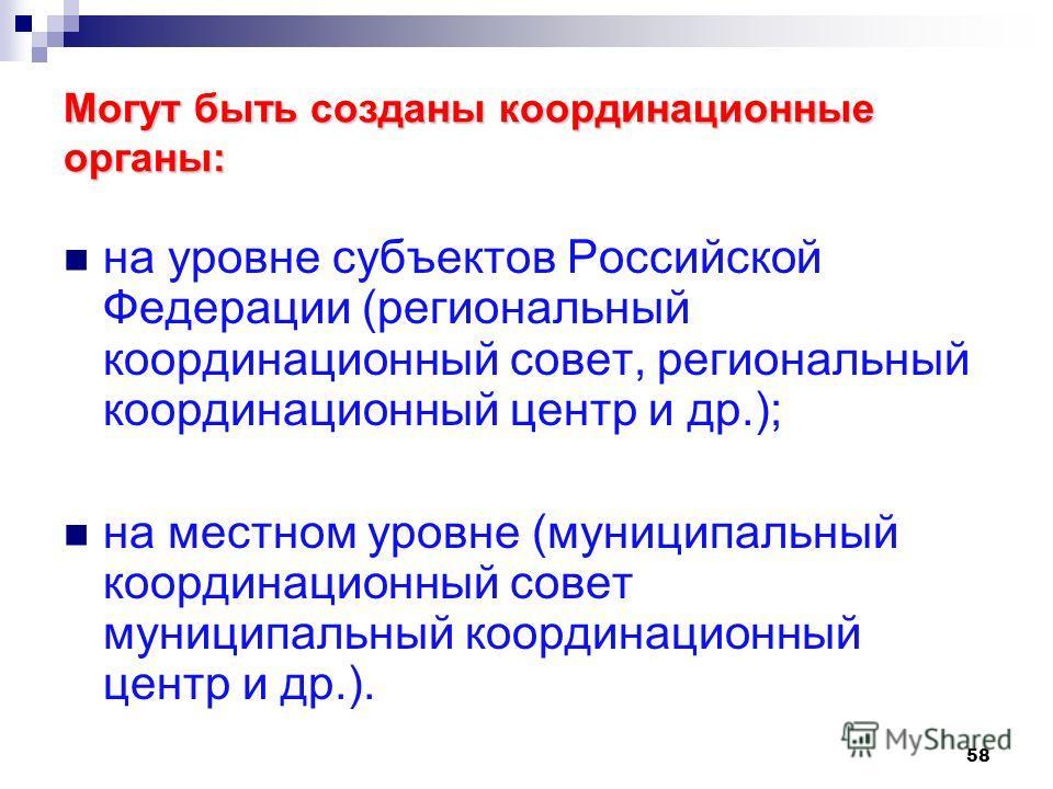 58 Могут быть созданы координационные органы: на уровне субъектов Российской Федерации (региональный координационный совет, региональный координационный центр и др.); на местном уровне (муниципальный координационный совет муниципальный координационны