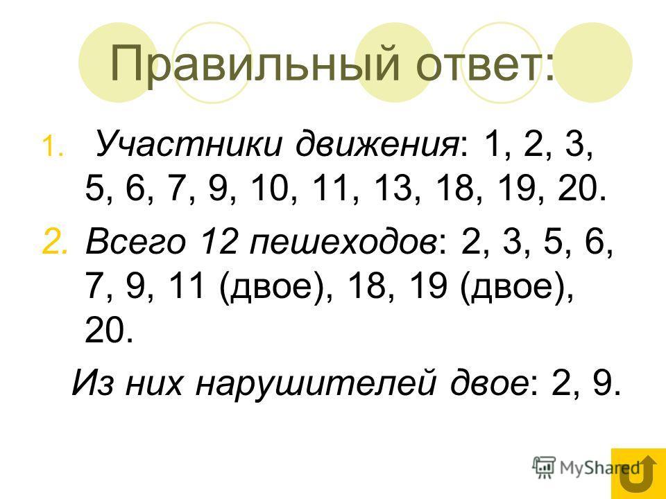 Правильный ответ: 1. Участники движения: 1, 2, 3, 5, 6, 7, 9, 10, 11, 13, 18, 19, 20. 2.Всего 12 пешеходов: 2, 3, 5, 6, 7, 9, 11 (двое), 18, 19 (двое), 20. Из них нарушителей двое: 2, 9.