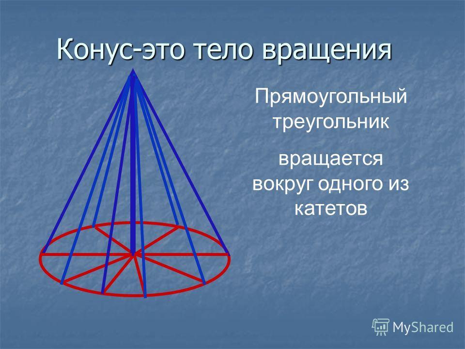 Конус-это тело вращения Прямоугольный треугольник вращается вокруг одного из катетов