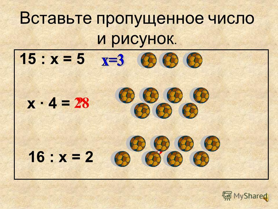 Вставьте пропущенное число и рисунок. 15 : х = 5 х · 4 = 16 : х = 2 ? ?28
