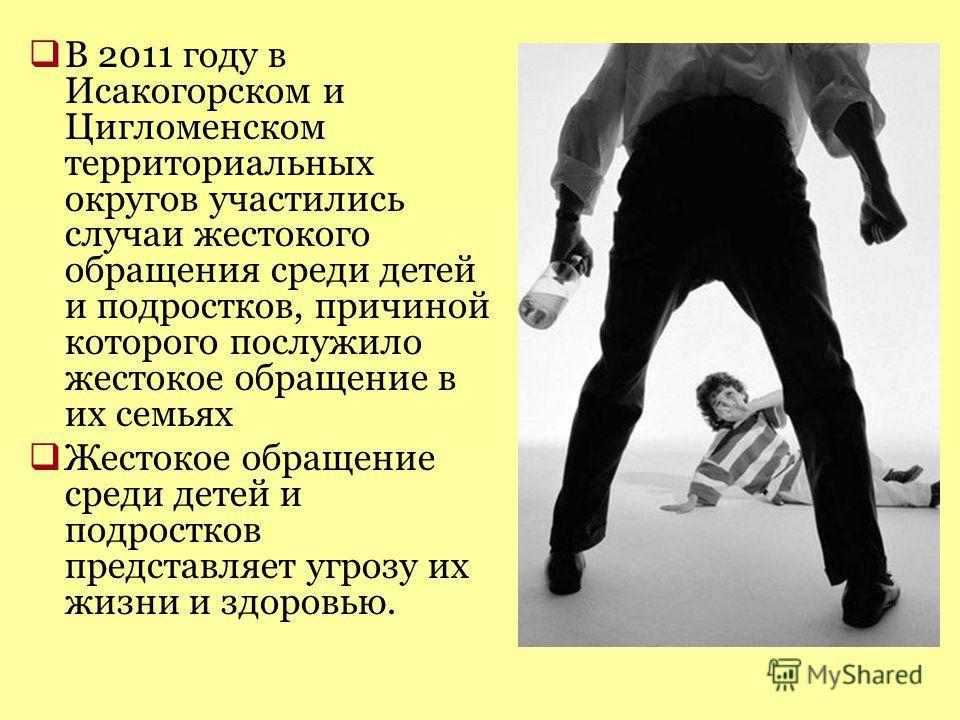 В 2011 году в Исакогорском и Цигломенском территориальных округов участились случаи жестокого обращения среди детей и подростков, причиной которого послужило жестокое обращение в их семьях Жестокое обращение среди детей и подростков представляет угро