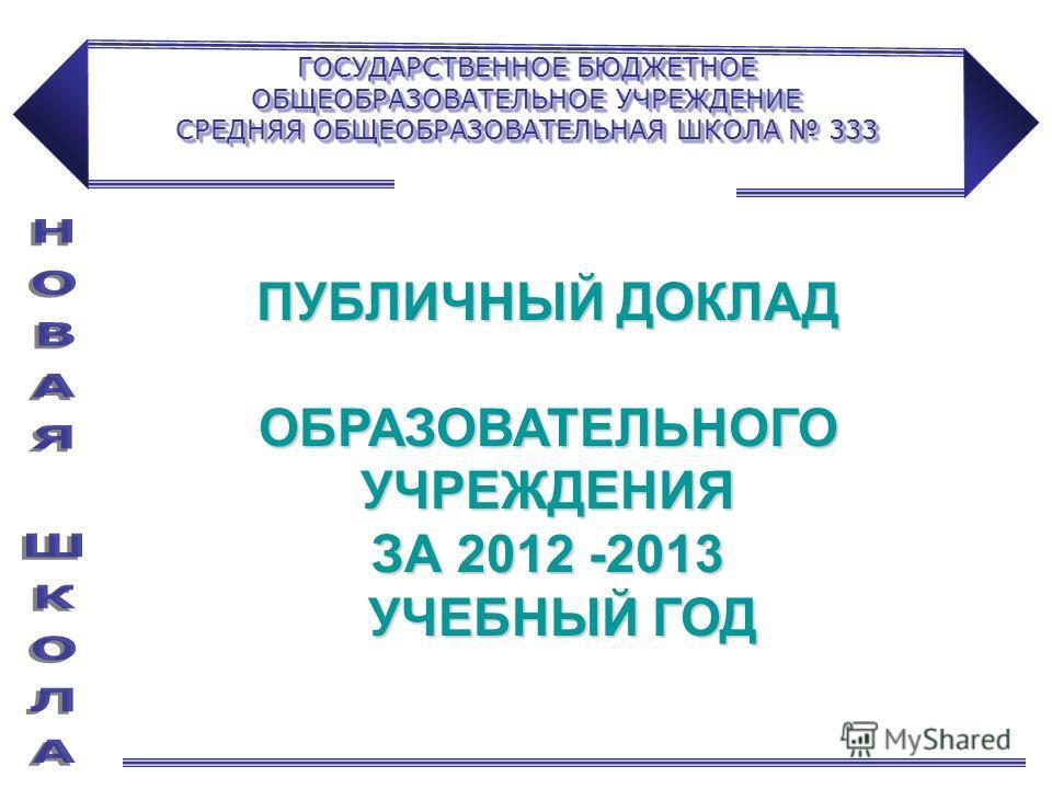 ПУБЛИЧНЫЙ ДОКЛАД ОБРАЗОВАТЕЛЬНОГО УЧРЕЖДЕНИЯ ЗА 2012 -2013 УЧЕБНЫЙ ГОД УЧЕБНЫЙ ГОД