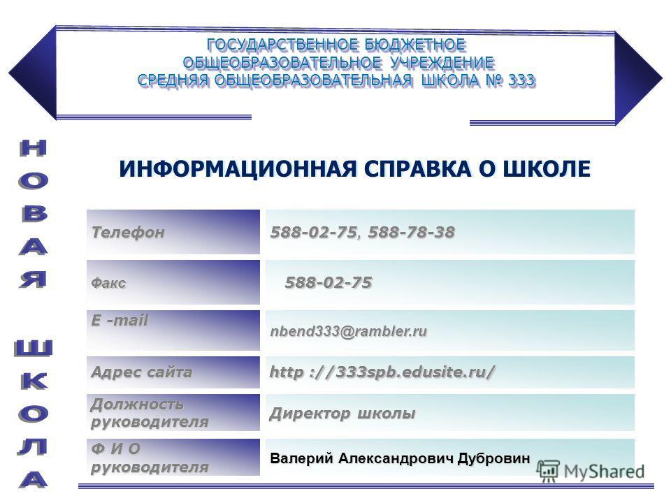 ГОСУДАРСТВЕННОЕ БЮДЖЕТНОЕ ОБЩЕОБРАЗОВАТЕЛЬНОЕ УЧРЕЖДЕНИЕ СРЕДНЯЯ ОБЩЕОБРАЗОВАТЕЛЬНАЯ ШКОЛА 333 Адрес сайта http ://333spb.edusite.ru/ Телефон 588-02-75, 588-78-38 Факс 588-02-75 588-02-75 Е -mail nbend333@rambler.ru Должность руководителя Директор шк