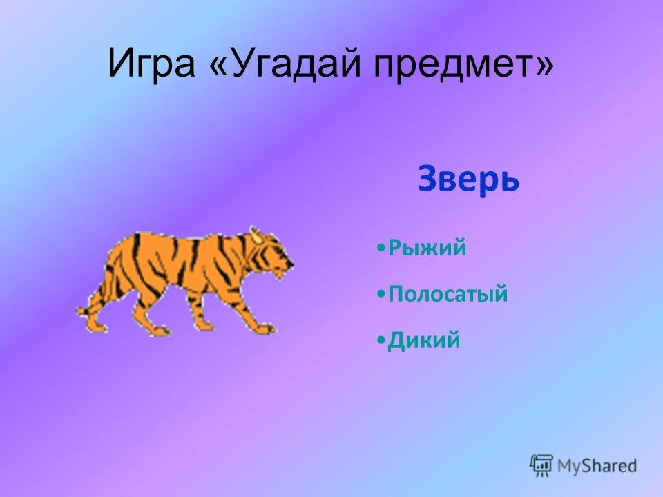 Игра «Угадай предмет» Рыжий Полосатый Дикий Зверь
