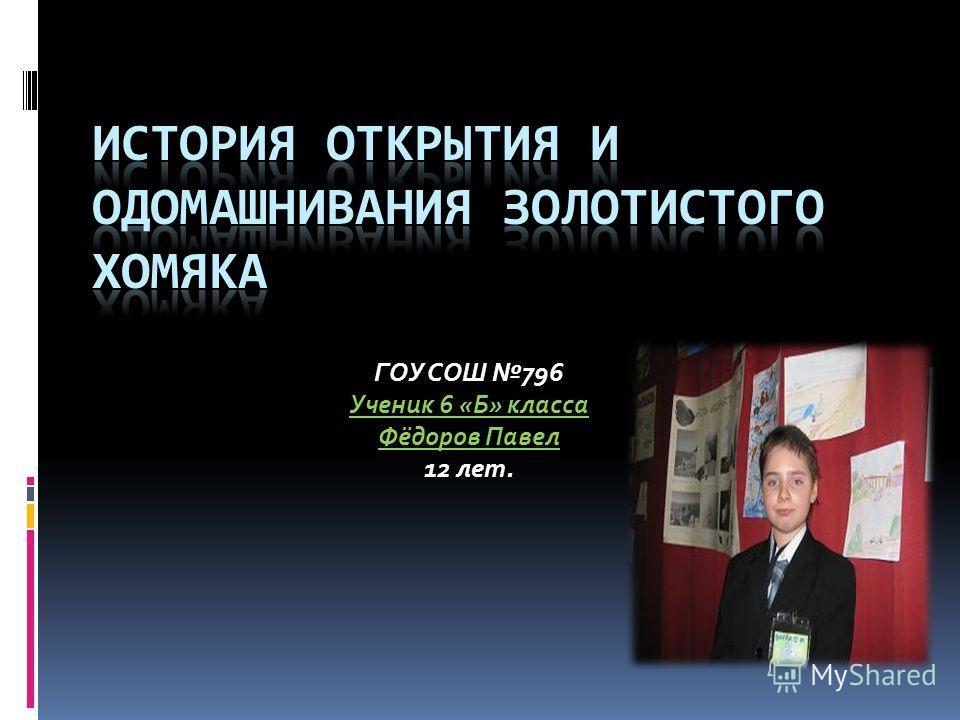 ГОУ СОШ 796 Ученик 6 «Б» класса Фёдоров Павел 12 лет.