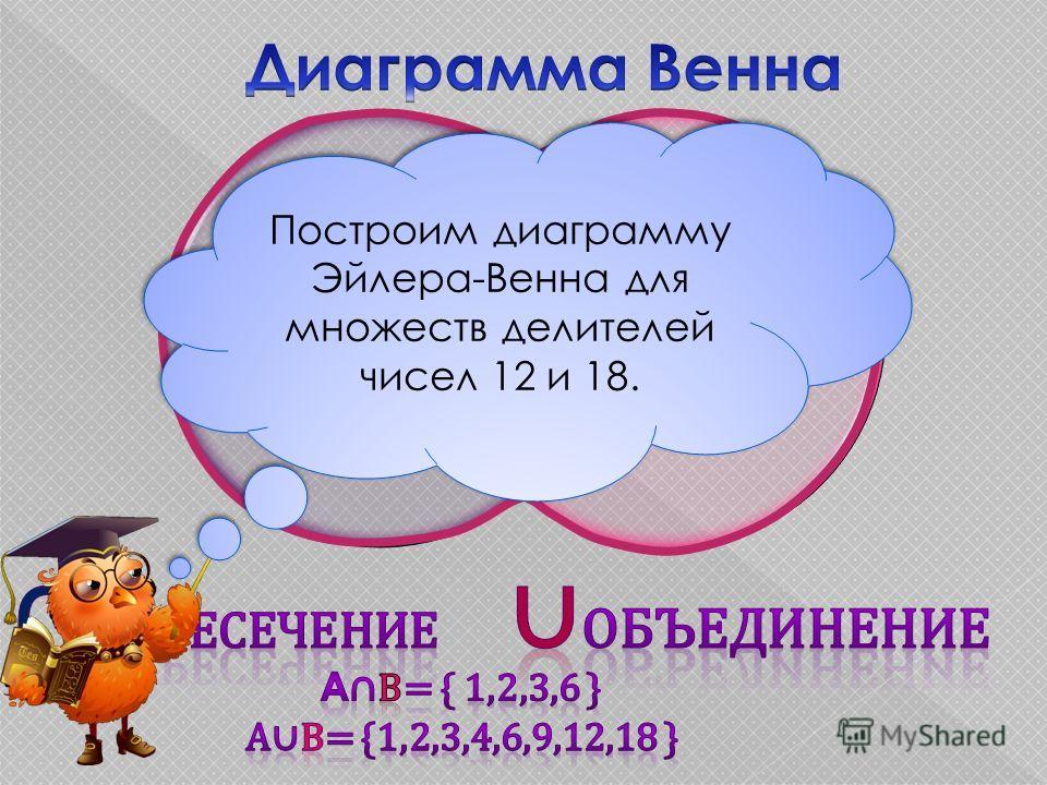 4,12 9,18 1,2 3,6 Построим диаграмму Эйлера-Венна для множеств делителей чисел 12 и 18.
